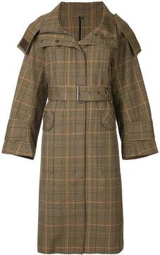 ESTNATION hooded plaid coat