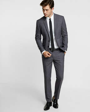 Express Extra Slim Navy Plaid Wool Suit Pant