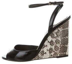 Christian Dior Peep-Toe Snakeskin Wedges