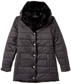 Karl Lagerfeld Reversible Nylon Coat with Faux Fur Girl's Coat