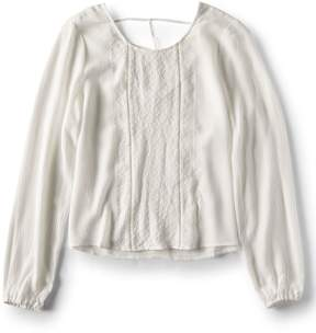 Aeropostale Long Sleeve Sheer Embroidered Peasant Top