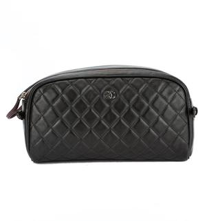 Chanel Black Quilted Lambskin Leather Matrasse Cosmetic Pouch (Pre Owned)
