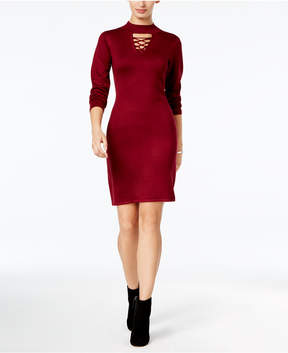 Connected Choker-Neck Sweater Dress