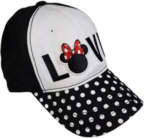 Disney Women's Minnie Mouse Washed Twill Embroidered Basebll Hat with Printed Bill
