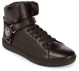 Versace Hi-Top Leather Lace-Up Sneakers