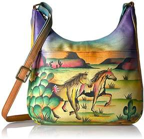 Anuschka Anna by Women's Genuine Leather Large Hobo Handbag | Hand Painted Original Artwork | Zip-Top Organizer |
