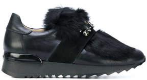 Baldinini jewelled fur sneakers