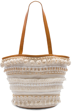 Mystique Pom Pom Tote in Cream.