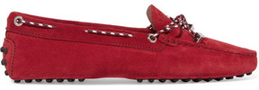 Tod's Gommino Leather-trimmed Suede Loafers - Red