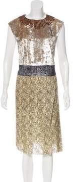 Dries Van Noten Metallic Textured Midi Dress