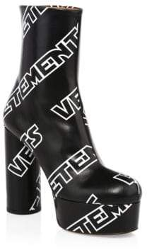 Vetements Printed Leather Platform Boots