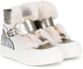 Simonetta fur applique hi-top sneakers