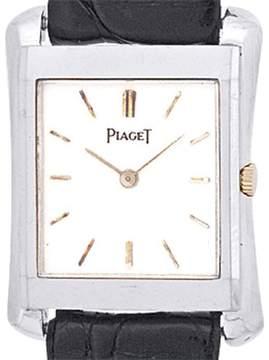 Piaget Classique Tank 18K White Gold Mens Strap Watch