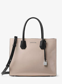 Michael Kors Mercer Large Color-Block Patent Leather Tote - GREY - STYLE