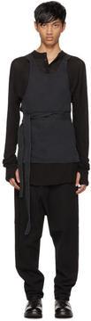 Isabel Benenato Black Belted Pocket Apron Top