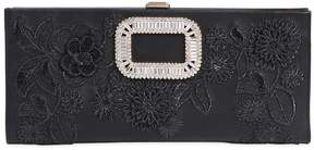 Roger Vivier Pilgrim Embroidered Leather Clutch