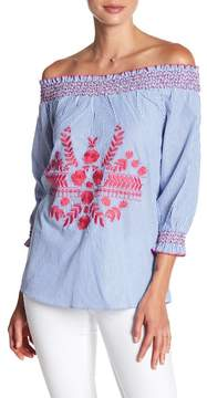 Design History Smocked Embroidery Off-the-Shoulder Top
