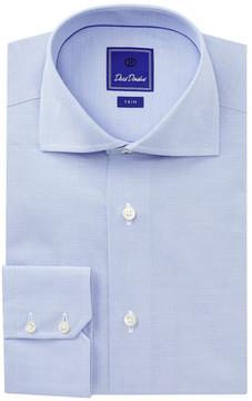 David Donahue Royal Micro Stripe Trim Fit Dress Shirt