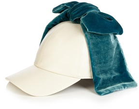 Federica Moretti Billy bow-embellished faux-leather cap