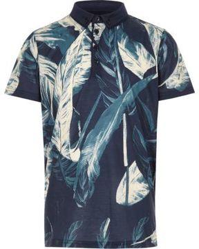 River Island Boys navy leaf print polo shirt