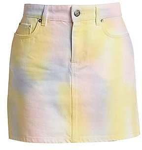 GANNI GANNI Women's Paradise Tie Die Wash A-Line Denim Skirt