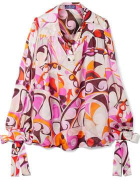 Emilio Pucci Nigeria Printed Silk-chiffon Blouse - Pink
