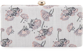 Neiman Marcus Flower-Print Linen Box Clutch Bag, Ivory