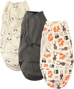 Hudson Baby Gray & Orange Forest Swaddle Wrap Set