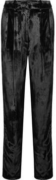 ADAM by Adam Lippes Pleated Panne-velvet Tapered Pants - Black