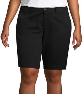 Arizona 9 Twill Bermuda Shorts-Juniors Plus