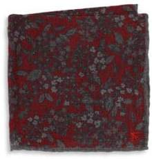 Isaia Floral Wool Pocket Square
