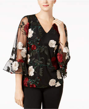 ECI Embroidered Overlay Blouse