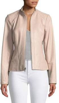 Neiman Marcus Leather Collection Quilted-Shoulder Zip-Front Leather Jacket