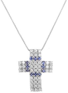 Damiani 18K White Gold Diamond & Sapphire Cross Pendant Necklace