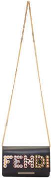 Fendi Black Embossed Logo Tube Chain Wallet Bag