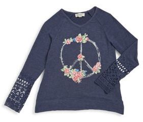 Jessica Simpson Girl's Floral Peace Sign Top