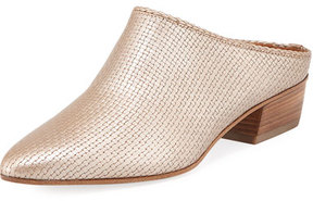 Aquatalia Fife Leather Block-Heel Mule