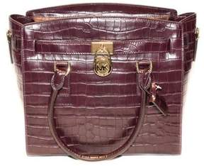 Michael Kors Hamilton Embossed-Leather Satchel - Damson - 30F7GHMS7E-599