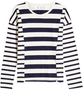 Closed Patchwork Striped Cotton Top