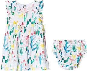 Catimini Multi Tropical Floral Print Ruffle Sleeve Dress