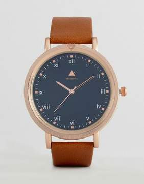 Asos Watch With Tan Leather Strap And Rose Gold Sandblasted Case