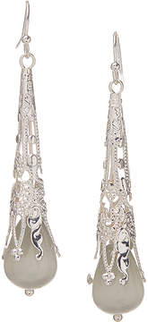Carole Gray Crystal & Silvertone Long Drop Earrings