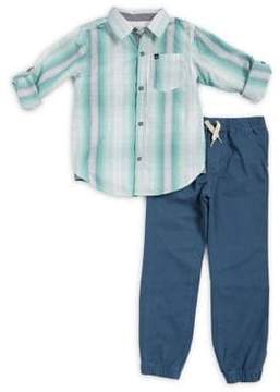 Calvin Klein Jeans Little Boy's Two-Piece Cotton Woven Collared Shirt and Drawstring Jogger Pants Set