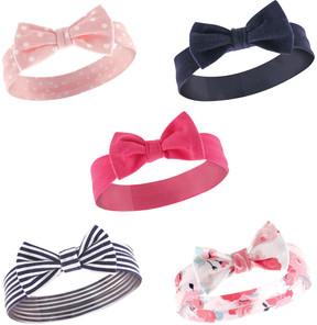 Hudson Baby Pink & Black Bow Tie Headband Set