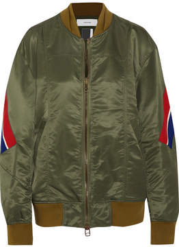 Facetasm Ribbed Wool-trimmed Satin Bomber Jacket - Army green