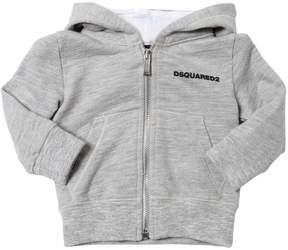 DSQUARED2 Logo Detail Zip-Up Cotton Sweatshirt