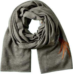 La Fiorentina Grey Embroidered Wool Scarf