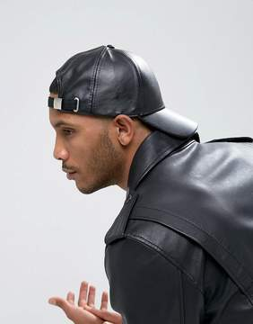 Asos Baseball Cap In Black Faux Leather