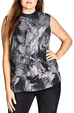 City Chic Marble Print Sleeveless Top