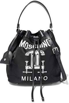 Moschino Construction Leather-Trimmed Printed Shell Bucket Bag